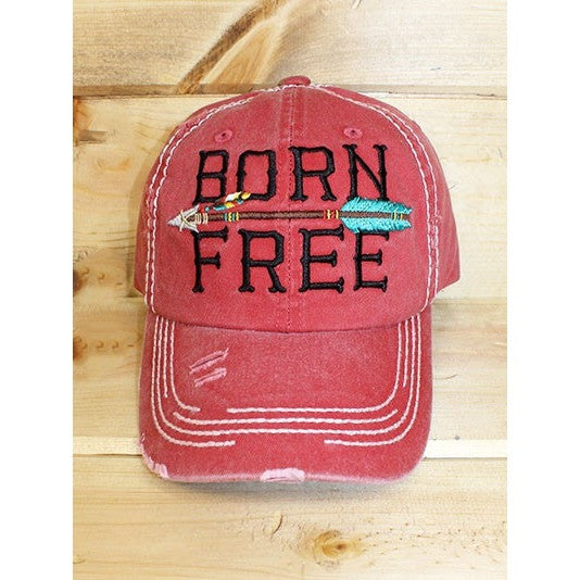 Born Free distressed Red hat with an arrow. Adjustable.   Free shipping!