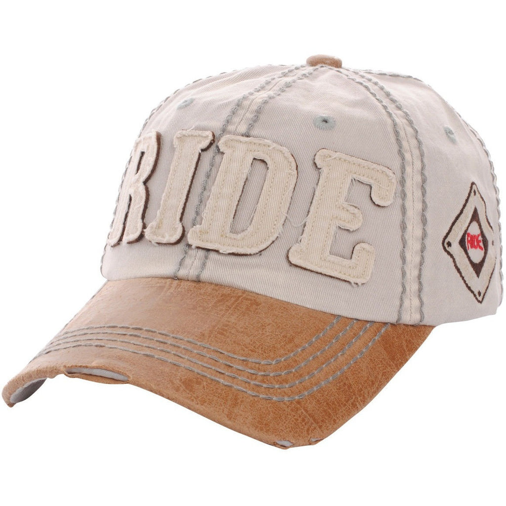 Women's distressed ride hat