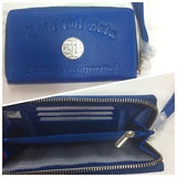Zeta Embossed Blue Leather Wallet