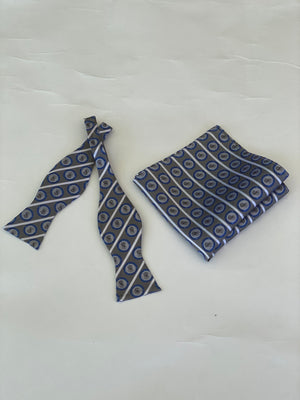 LD Blue & Grey Bow Tie Set W/Shield