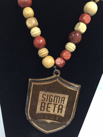 Wooden Sigma Beta Club Shield Tiki