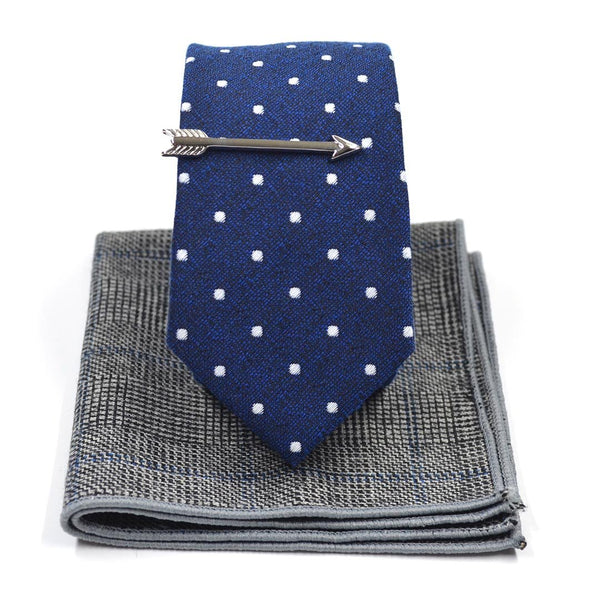 Polka Dot Ocean Blue Tie Set