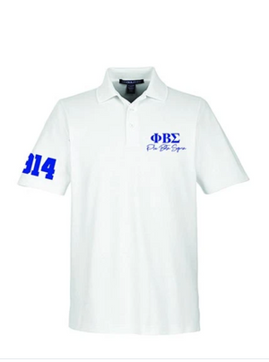 Sigma White/ Royal Greek Letter Polo Ribbed*