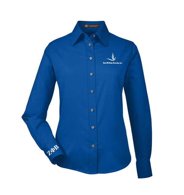 Zeta Dove Button-Down Royal Shirt