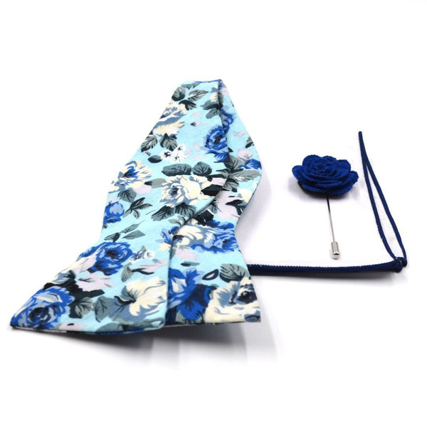 Baby Blue Floral Bow Tie Set WS