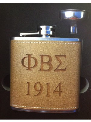 PBS Leather Brown Flask