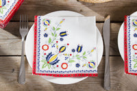 Polish Folk Art Kashubian Design Red Border Napkins, Set of 20