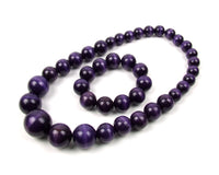 FolkFashion Wooden Bead Necklace and Bracelet Set - Plum Purple - Taste of Poland  - 1
