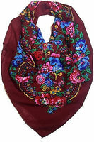 Traditional Polish Folk Head Scarf - Maroon - Taste of Poland  - 1