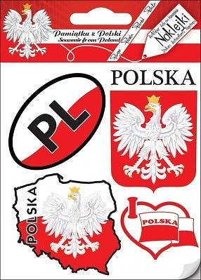 Stickers - Polish Flag, Map, Crest & Heart, Set of 4 - Taste of Poland