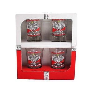 Polish Eagle Poland Shot Glasses, Set of 4 (Flag) - Taste of Poland