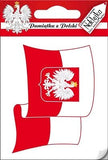 Sticker - White Eagle Shield on Flag - Taste of Poland