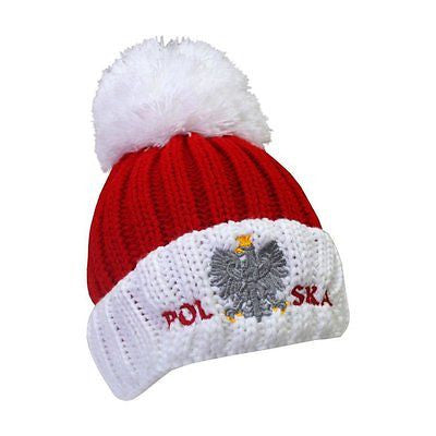 Ribbed Knit Pom Pom Hat wit Polish Eagle - Taste of Poland  - 2