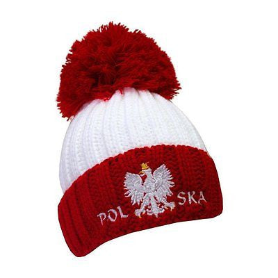 Ribbed Knit Pom Pom Hat wit Polish Eagle - Taste of Poland  - 1