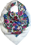 Traditional Polish Folk Head Scarf - White - Taste of Poland  - 1