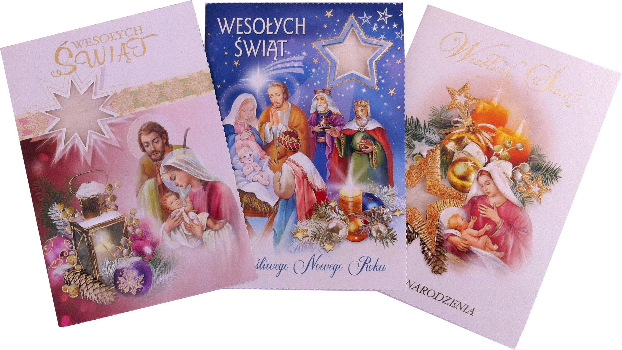 Beautiful Religious Christmas Cards.Religious Polish Christmas Greeting Cards With Wafers Oplatek Set Of 3