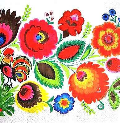 Polish Folk Art Lowicz Rooster on Flowers Napkins, Set of 20