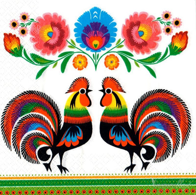 Polish Folk Art Lowicz 2 Roosters Napkins, Set of 20