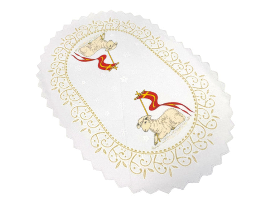 Set of 2 Polish Traditional Oval Easter Doily Basket Cover (Lamb)