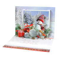 Large Traditional 3D Pop-Up Polish Christmas Greeting Card with Christmas Snowman