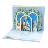 Large Traditional 3D Pop-Up Polish Christmas Greeting Card with Holy Family