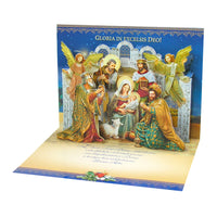 Large Traditional 3D Pop-Up Polish Christmas Greeting Card with Nativity and Angels