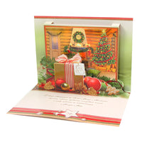 Large Traditional 3D Pop-Up Polish Christmas Greeting Card with Christmas Tree & Ornaments