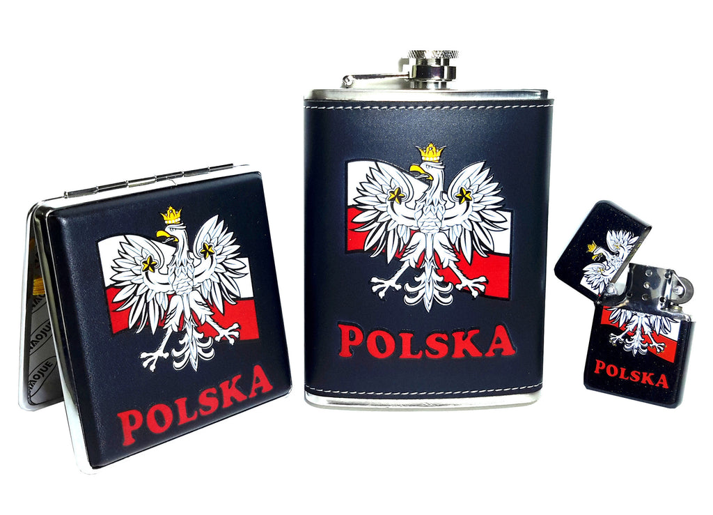 Black Polska Eagle on Flag Flask, Cigarette Case & Lighter Set - Taste of Poland  - 1