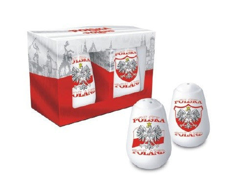 Polska Poland Salt & Pepper Shaker Set - Eagle Emblem & Flag of Poland - Taste of Poland