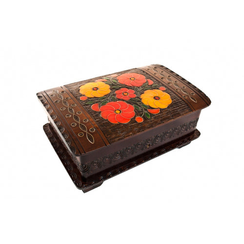 "Large Polish Folk Floral Wooden Box with Brass Inlays and Key, 9""x6"""