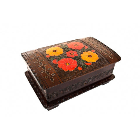 "Large Polish Floral Wooden Box with Brass Inlays and Key, 9""x6"""