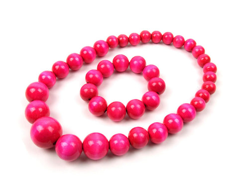 FolkFashion Wooden Bead Necklace and Bracelet Set - Pink - Taste of Poland  - 1