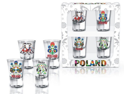 Polska Poland Folk Art Shot Glasses, Set of 4 - Taste of Poland