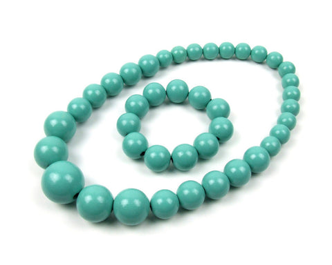 FolkFashion Wooden Bead Necklace and Bracelet Set - Turquoise - Taste of Poland  - 1