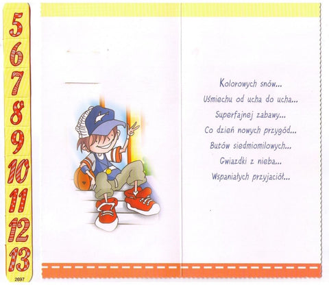 Polish Birthday Greeting Card For A Boy With Replaceable Digit