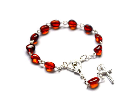 Polish Natural Baltic Amber One Decade Rosary Prayer Beads - Taste of Poland  - 1