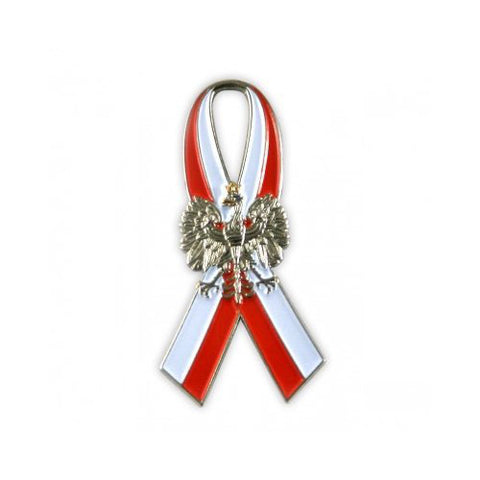 Polish Eagle on Poland Flag Ribbon - Lapel Pin - Taste of Poland