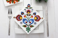 Polish Lowicz Folk Art Luncheon Napkins, Set of 20