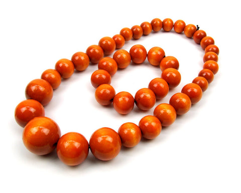 FolkFashion Wooden Bead Necklace and Bracelet Set - Orange - Taste of Poland  - 1