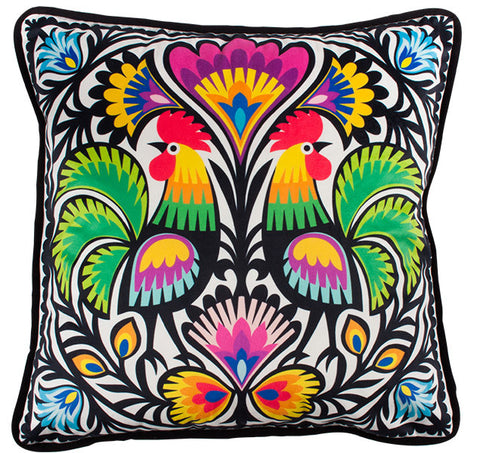 Polish Folk Art Accent Pillow Cover (Rooster Folk) - Taste of Poland  - 1