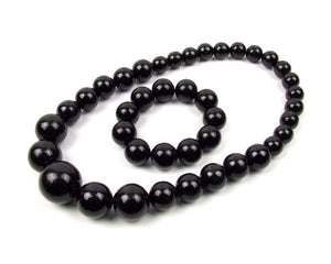 FolkFashion Wooden Bead Necklace and Bracelet Set - Black - Taste of Poland  - 1