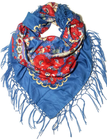 Traditional Polish Ukrainian Folk Shawl with Fringes - Blue - Taste of Poland  - 1