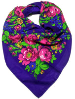 Traditional Polish Folk Head Scarf - Classy Floral Collection - Blue - Taste of Poland  - 1