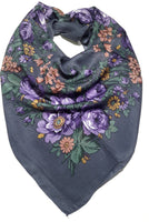 Traditional Polish Folk Head Scarf - Classy Floral Collection - Grey - Taste of Poland  - 1