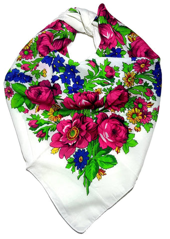 Traditional Polish Folk Head Scarf - Classy Floral Collection - White - Taste of Poland  - 1
