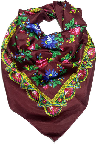 Traditional Polish Folk Head Scarf - Royal Collection - Burgundy - Taste of Poland  - 1