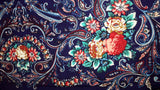 Traditional Polish Folk Shawl with Fringes - Exclusive Russian Collection - Navy - Taste of Poland  - 3