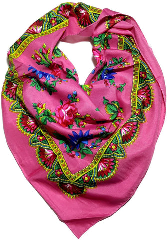Traditional Polish Folk Head Scarf - Royal Collection - Pink - Taste of Poland  - 1