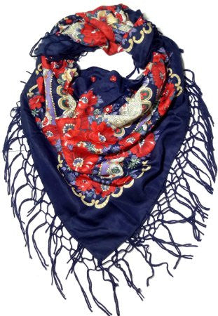 Traditional Polish Ukrainian Folk Shawl with Fringes - Navy - Taste of Poland  - 1