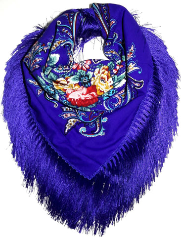 Traditional Polish Folk Shawl with Fringes - Exclusive Russian Collection - Blue - Taste of Poland  - 1